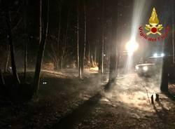 incendio bosco notte