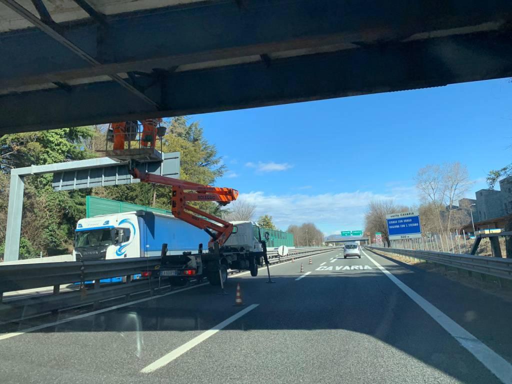 Lavori in A8 al ponte di Cavaria