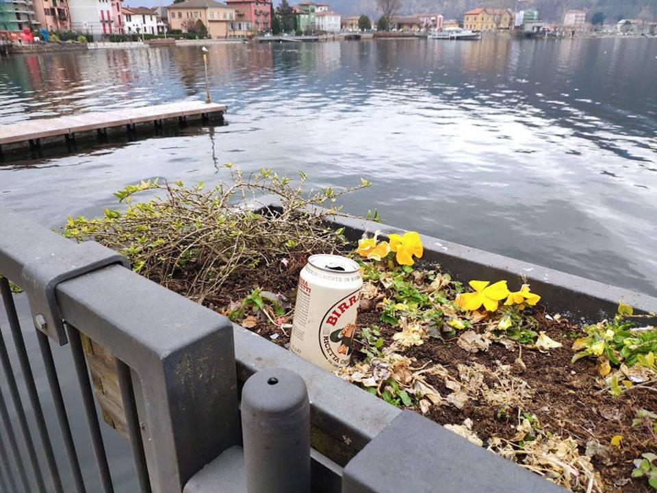 Porto ceresio - Rifiuti nel lago