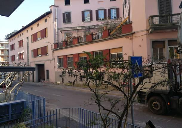 Via Sant'Imerio, al lavoro per riaprire la strada