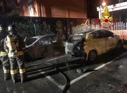 Due auto a fuoco in via ticino nerviano incendio vigili del fuoco  1