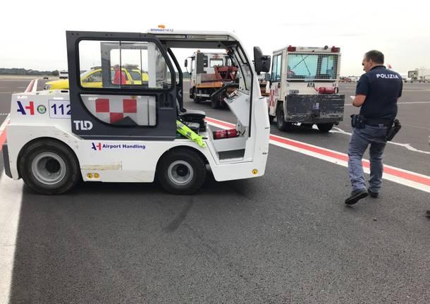 Incidente tra mezzi sulla pista di Malpensa