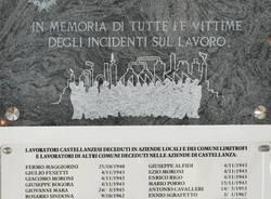 targa in memoria vittime sul lavoro