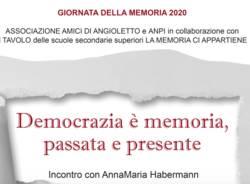 locandina incontro con AnnaMaria Habermann, testimone della Shoah e dei diritti dell'essere umano.