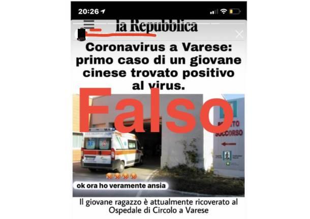 Le fake news a Varese sul coronavirus