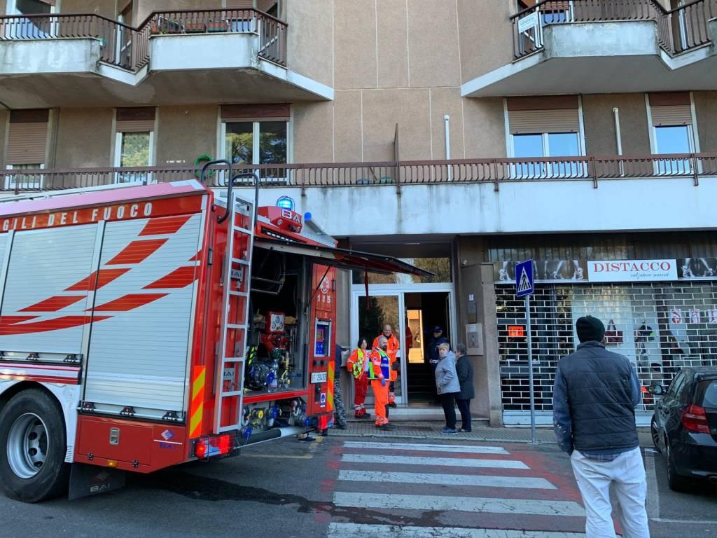 Incendio palazzina Solbiate Arno