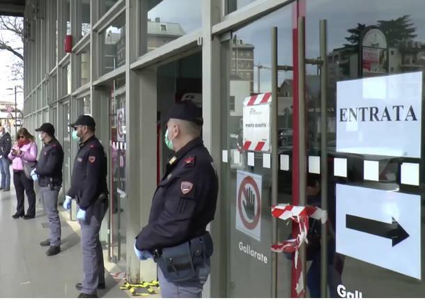 Controlli polizia stazione Gallarate coronavirus