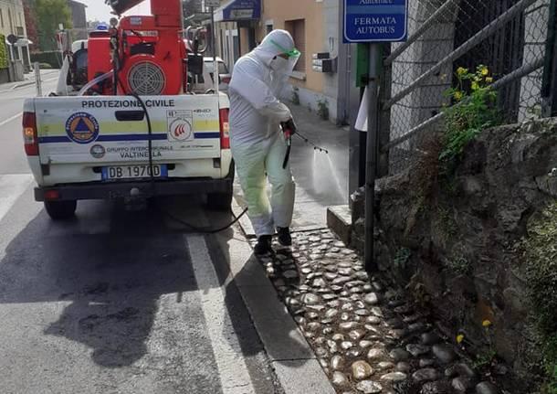 Protezione Civile Valtinella, sanificate le strade di Casciago, Comerio, Luvinate e Barasso
