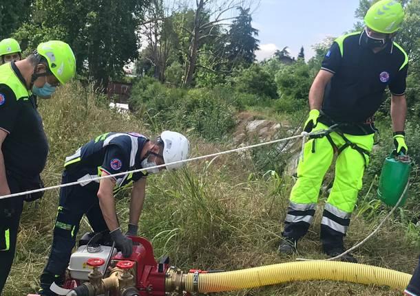 Protezione civile Legnano: 40 volontari impegnati in una esercitazione al Castello