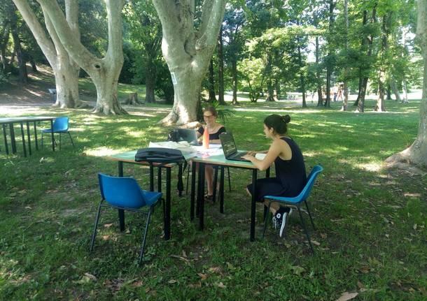 AreaStudioVede: un'aula nel parco di Villa Mylius