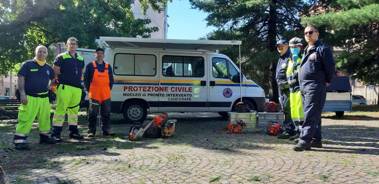 La Protezione Civile rimette in sicurezza i giardini di via Marconi a Canegrate