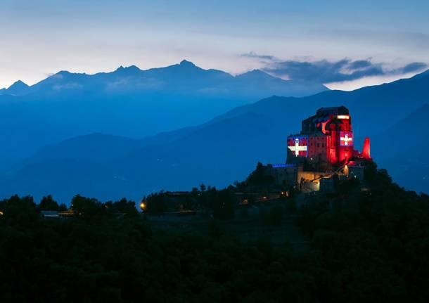 Sacra di San Michele illuminata Regione Piemonte