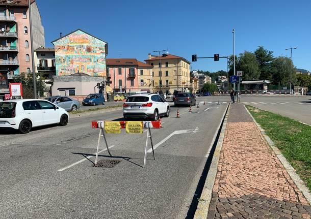 Lavori Enel in via Maspero a Varese, in via Milano non si gira a destra