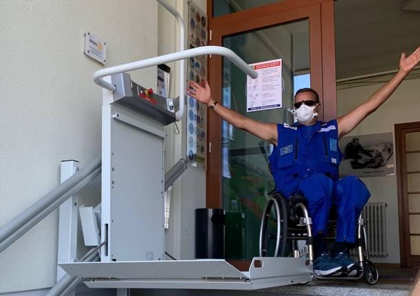 Il nuovo servoscala nella sede dell'Aeroclub Adele Orsi