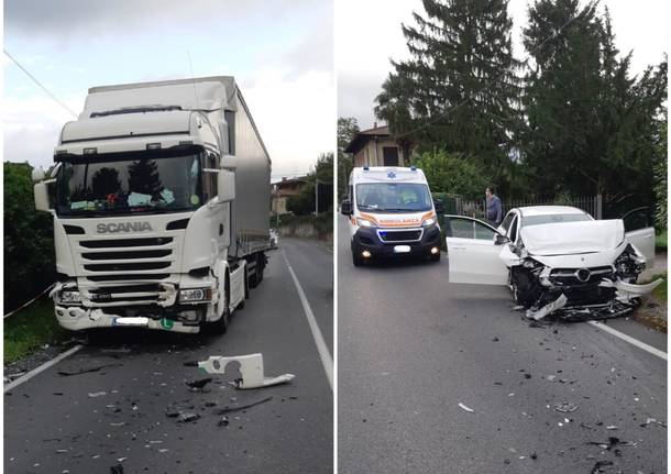 Incidente a Gavirate tra auto e tir