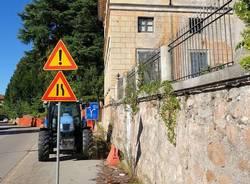 Induno Olona - Lavori al muro di Villa Castiglioni