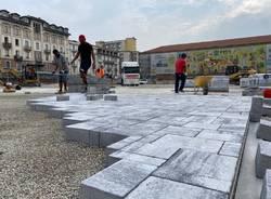 La nuova pavimentazione in piazza Repubblica