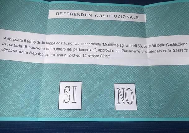 referendum costituzionale 2020 scheda