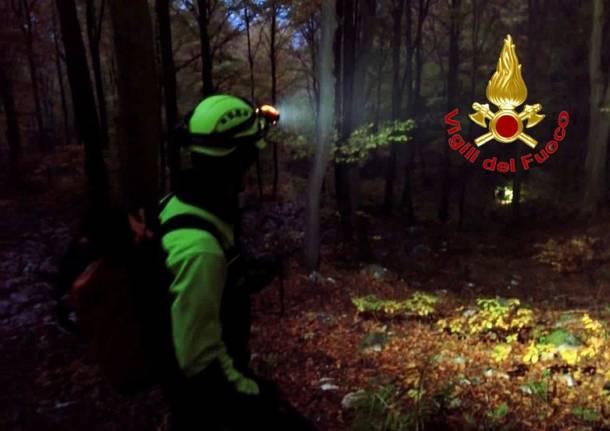 ricerca persona boschi notte