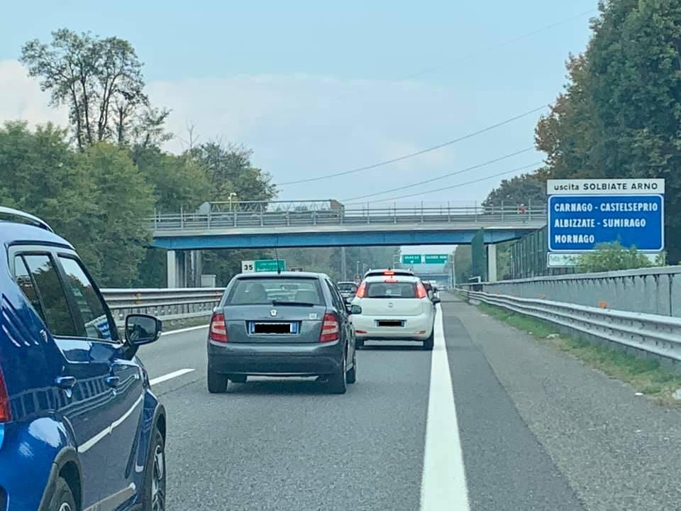 Incidente stradale A8 Solbiate 18 ottobre 2020