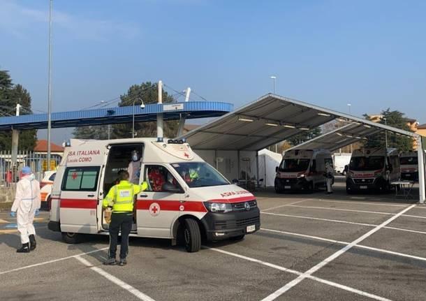 Check point esercito e Areu per pazienti con sintomatologie respiratorie