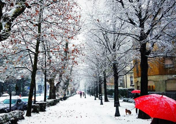 Via Dandolo a Varese sotto la neve