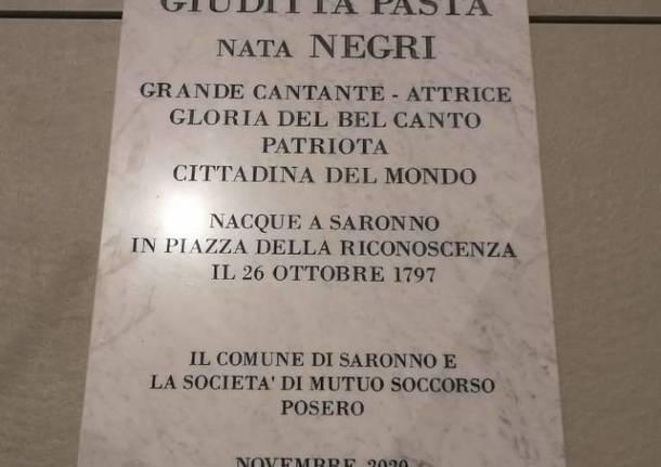 Riposizionata a Saronno la lapide dedicata a Giuditta Pasta