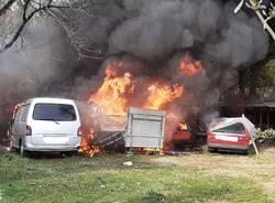 Macchine in fiamme a Brenta
