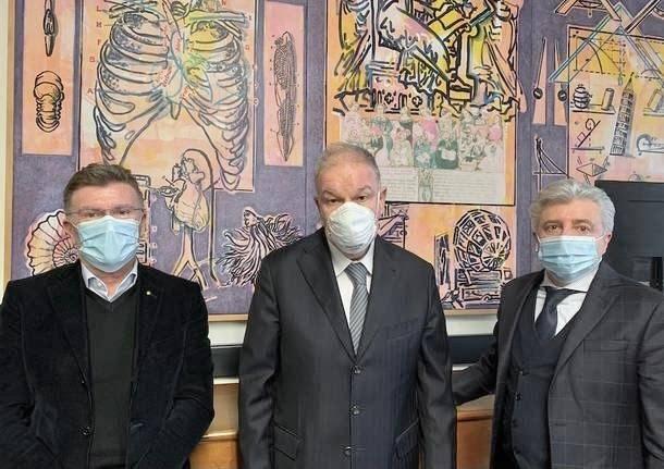 Giulio Carcano Angelo Tagliabue e il direttore generale Marco Cavallotti università insubria