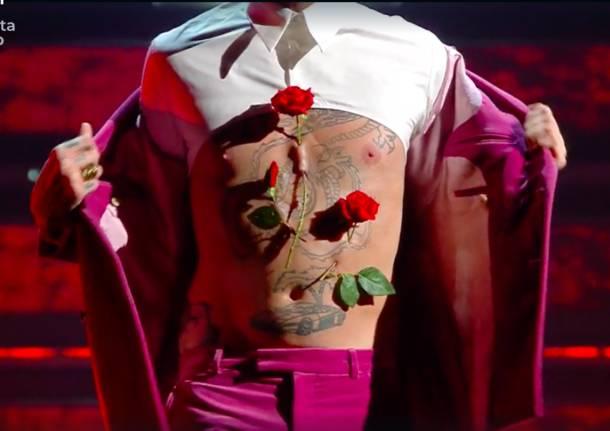L'ultimo quadro di Achille Lauro a Sanremo con gli effetti speciali di Andrea Leanza
