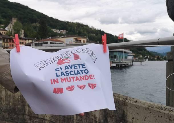 la protesta dei commercianti di Lavena Ponte Tresa