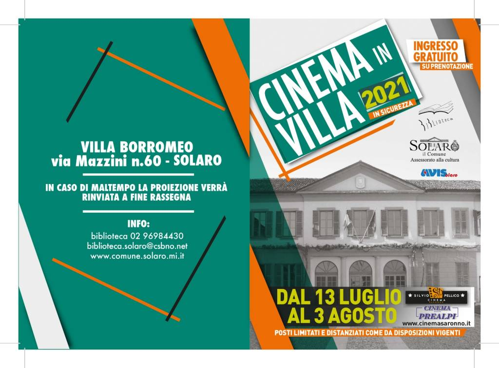 """A Solaro dal 13 luglio al 3 agosto la rassegna estiva di """"Cinema in Villa 2021"""""""