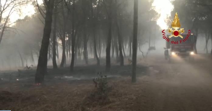 Vigili del fuoco in azione per gli incendi in Sardegna