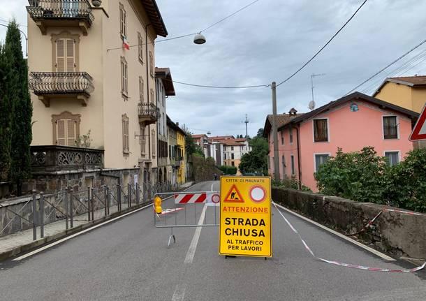 Briantea chiusa al traffico dopo il maltempo