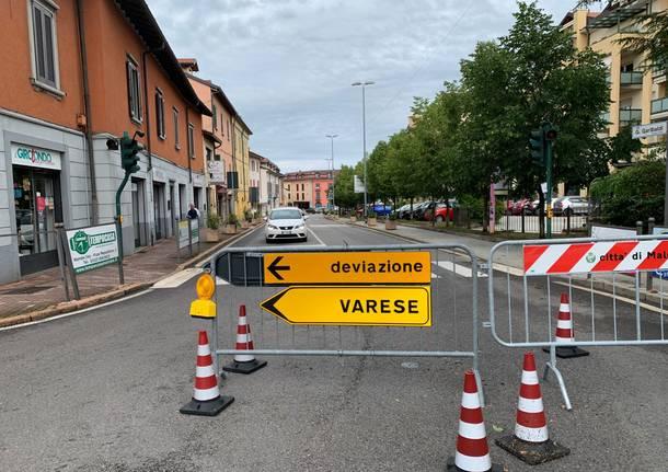 Un tratto di Briantea a Malnate chiuso al traffico dopo il maltempo