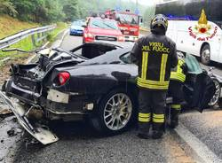Schianto sulla 336, Ferrari distrutta
