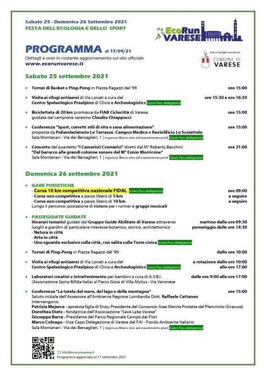 """EcoRun Varese \""""Festa dell\'Ecologia e dello Sport\"""""""
