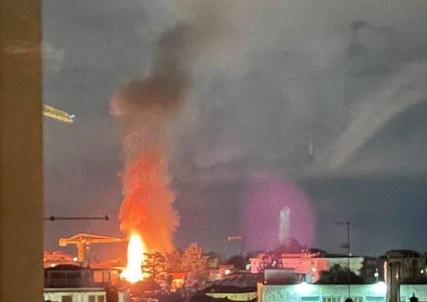 Incendio nella notte di Gallarate