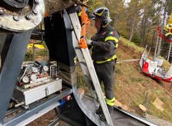 Vigili del Fuoco - Mottarone - rimozione cabina precipitata