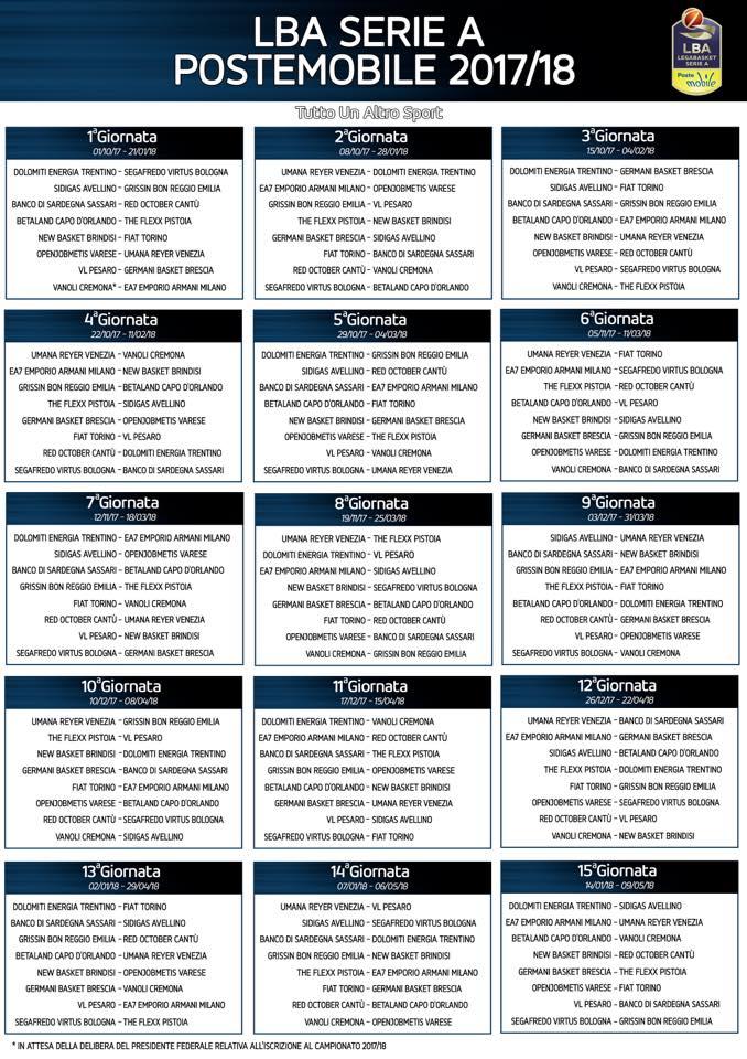 Calendario Serie A 12 Giornata.Pallacanestro Varese Ecco Il Calendario 2017 2018