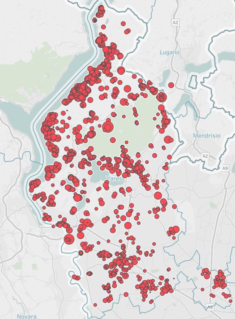 La mappa degli Airbnb in provincia di Varese